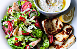 Fatoush Salad with Grilled Halloumi
