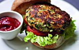 Chickpea, Cheddar and Onion Burgers