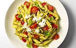 Penne with Basil Pesto, Cherry Tomatoes & Ricotta
