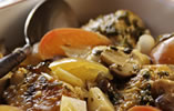 Chicken Fricassee with Apples in a Wine Sauce