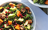 Naturally Sassy's Kale Salad with Caramelised Sweet Potato & Maple Roasted Walnuts