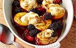Sugar-dusted Grilled Nectarines with Meringue Ice Cream