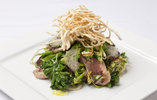 Honey Marinated Duck Breast, Sauteed Greens and Crispy Noodles