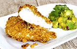 Oven Baked Corn Flake Chicken Breast with Avocado & Mango Salsa - Gluten Free