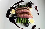 Duck with Asparagus and Blackberries