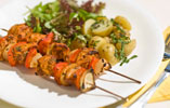 Chicken Tikka Skewers with Italian Salad and Minted New Potatoes