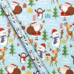 Fun Blue Christmas Gift Wrap 4m