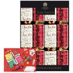 "Red & Cream Script Christmas 12"" Crackers"