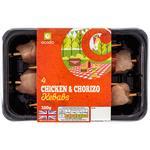Ocado 4 Chicken & Chorizo Kebabs