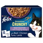 Felix Sensations Crunchies Cat Food Meat
