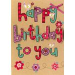 Hand Finished Happy Birthday Lettering Card