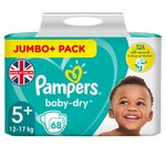 Pampers Baby Dry Nappies Size 5+ Jumbo Pack