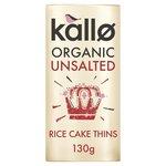Kallo Organic Unsalted Rice Cake Thins