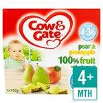 Cow & Gate 4 Mths+ Pear & Pineapple 100% Fruit Pots