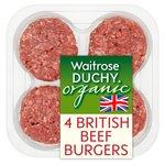 Duchy Waitrose Organic 4 British Beef Burgers